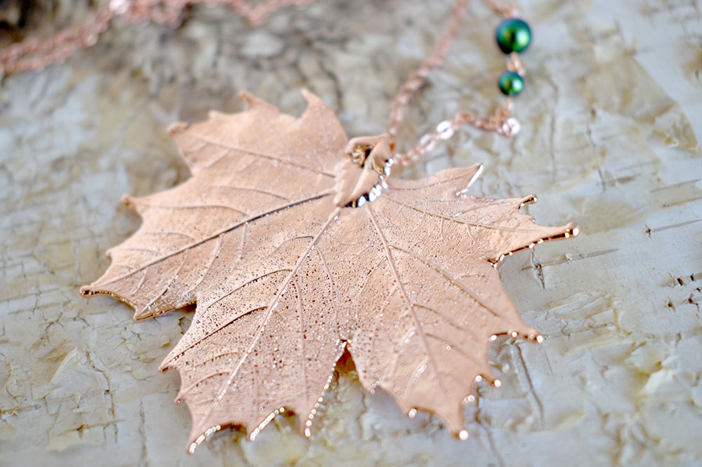 Rose Gold & Copper Large Maple Leaf Necklace | REAL Maple Leaf Pendant with Gemstones | Copper Electroformed Pendant | Nature Jewelry - Enchanted Leaves - Nature Jewelry - Unique Handmade Gifts