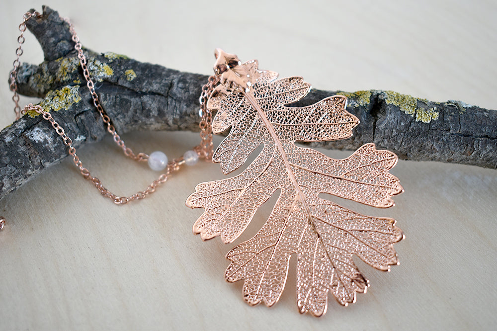 Rose Gold & Copper Large Oak Leaf Necklace | Copper Electroformed Nature - Enchanted Leaves - Nature Jewelry - Unique Handmade Gifts