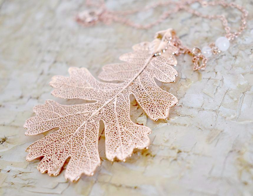 Rose Gold & Copper Large Oak Leaf Necklace | REAL Oak Leaf Pendant with Gemstones | Copper Electroformed Pendant | Nature Jewelry - Enchanted Leaves - Nature Jewelry - Unique Handmade Gifts