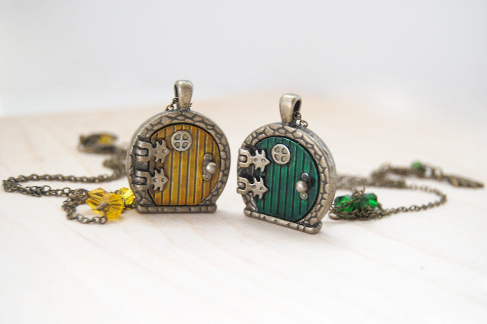 Sam and Frodo BFF Necklaces | Hobbit Door Lockets | Lord of the Rings Necklace | TWO Necklaces - Enchanted Leaves - Nature Jewelry - Unique Handmade Gifts