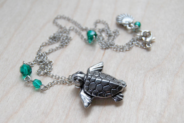 Majestic Sea Turtle Necklace | Silver Sea Turtle Charm Necklace | Sea Animal Jewelry - Enchanted Leaves - Nature Jewelry - Unique Handmade Gifts