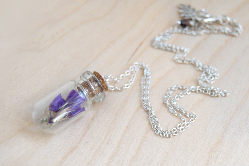 Purple Flowers | Garden Bottle Necklace | Glass Nature Terrarium Necklace | Sea Lavender Flower Charm - Enchanted Leaves - Nature Jewelry - Unique Handmade Gifts