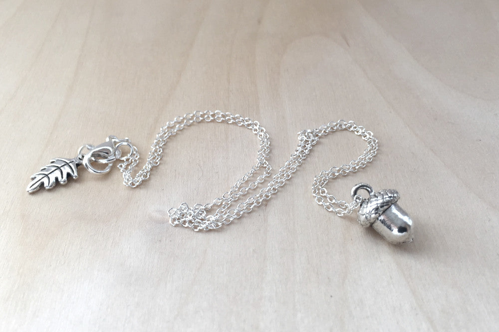 Sweet Little Silver Acorn Necklace - Enchanted Leaves - Nature Jewelry - Unique Handmade Gifts