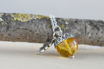 Baltic Amber and Silver Acorn Necklace | Real Amber Necklace | Nature Jewelry | Fall Acorn Charm Necklace - Enchanted Leaves - Nature Jewelry - Unique Handmade Gifts