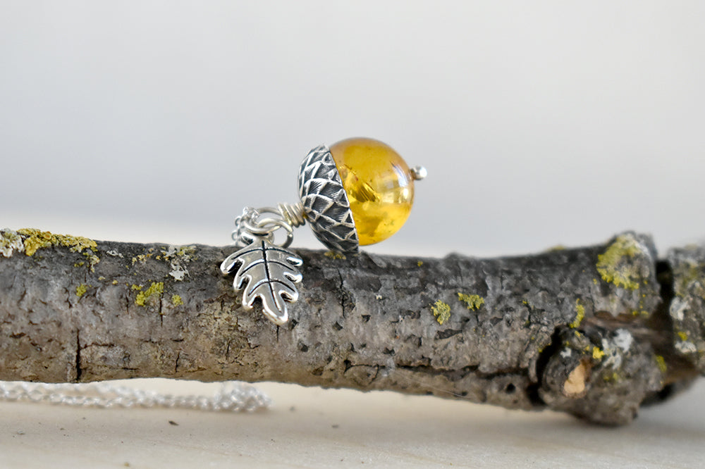 Baltic Amber and Silver Acorn Necklace | Real Amber Necklace | Nature Jewelry | Fall Amber Acorn - Enchanted Leaves - Nature Jewelry - Unique Handmade Gifts
