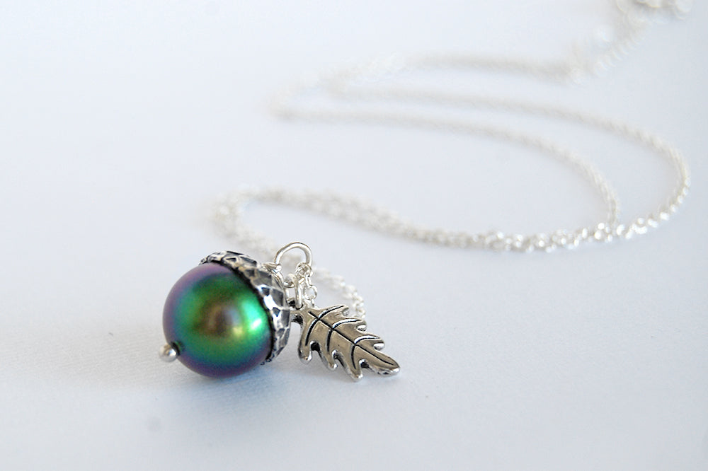 Silver Beetle Magic Acorn Necklace | Iridescent Rainbow Green Acorn Pendant | Forest Nature Jewelry - Enchanted Leaves - Nature Jewelry - Unique Handmade Gifts
