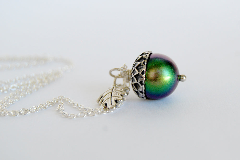 Sylvan Magic Acorn Necklace | Iridescent Green and Silver Acorn Pendant | Nature Jewelry | Fall Acorn Charm Necklace - Enchanted Leaves - Nature Jewelry - Unique Handmade Gifts