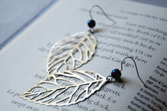 Large Silver Skeleton Leaf Earrings