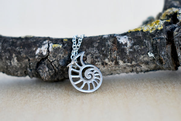 Little Silver Nautilus Charm Necklace | Cute Nautical Charm Necklace | Ammonite Shell Jewelry - Enchanted Leaves - Nature Jewelry - Unique Handmade Gifts