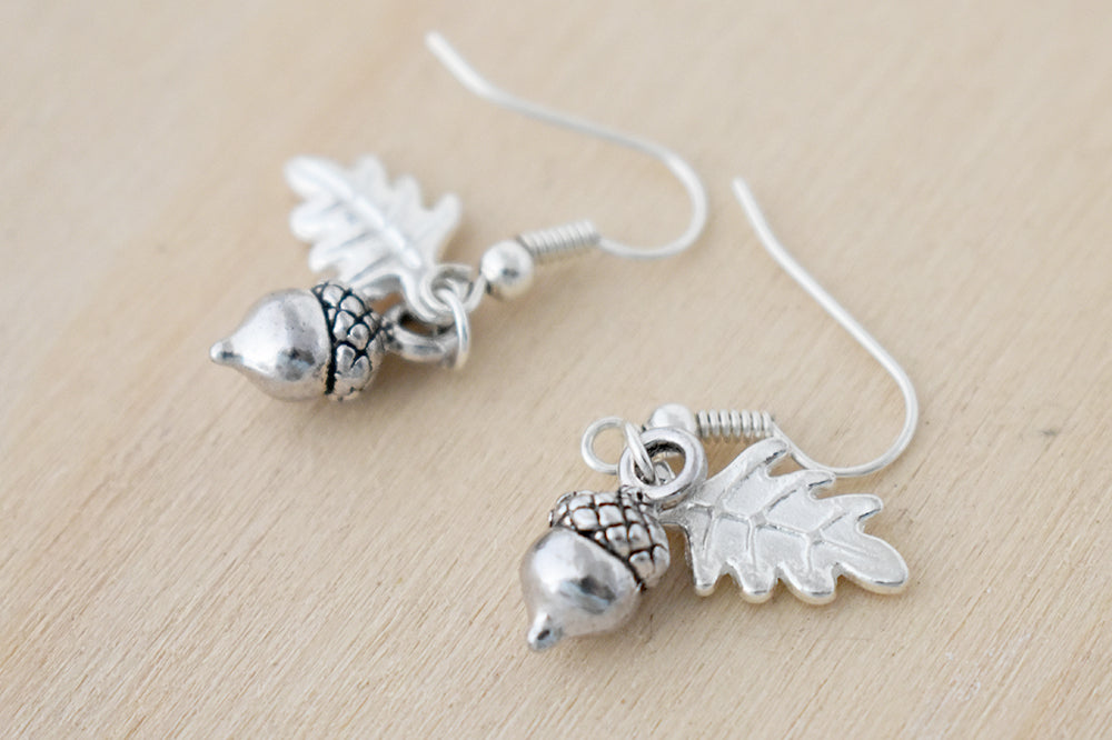 Silver Acorn Charm Earrings | Fall Acorn | Nature Jewelry | Woodland Acorn Earrings - Enchanted Leaves - Nature Jewelry - Unique Handmade Gifts