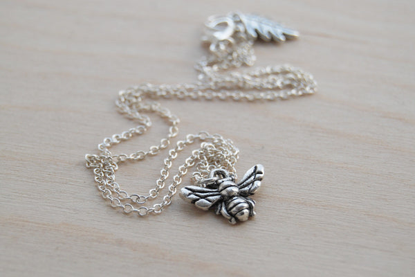 Tiny Silver Bee Charm Necklace - Enchanted Leaves - Nature Jewelry - Unique Handmade Gifts