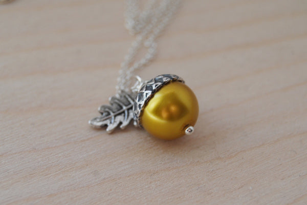 Silver & Golden Pearl Acorn Necklace | Fall Nature Jewelry | Woodland Gold Acorn Charm Necklace - Enchanted Leaves - Nature Jewelry - Unique Handmade Gifts