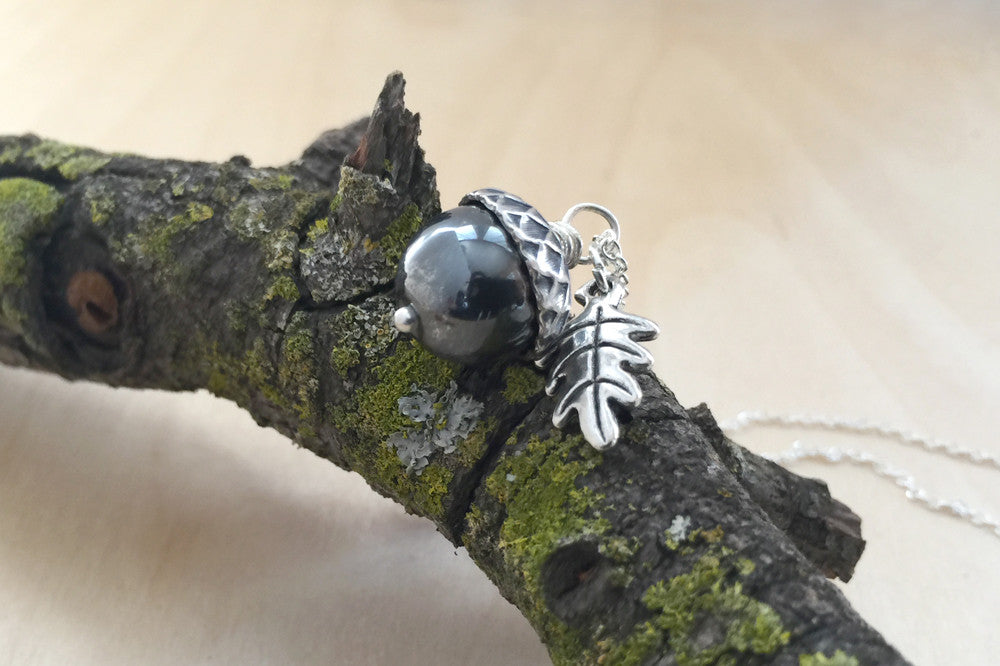 Hematite & Silver Acorn Necklace | Cute Nature Acorn Charm Necklace | Woodland Nature Jewelry Acorn - Enchanted Leaves - Nature Jewelry - Unique Handmade Gifts