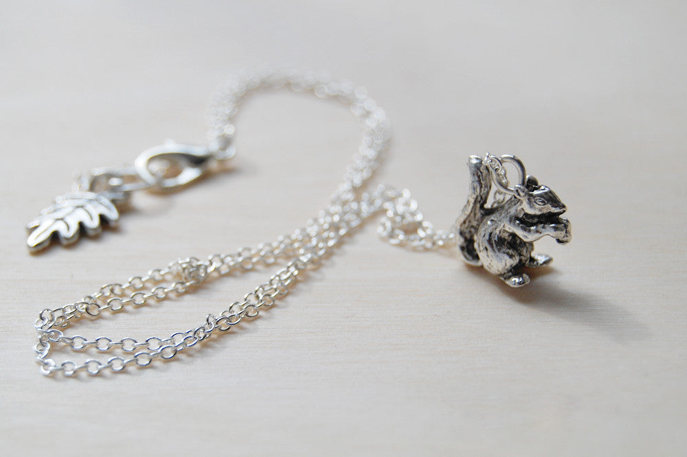 Silver Squirrel Necklace | Woodland Squirrel Charm Necklace | Fall Jewelry - Enchanted Leaves - Nature Jewelry - Unique Handmade Gifts