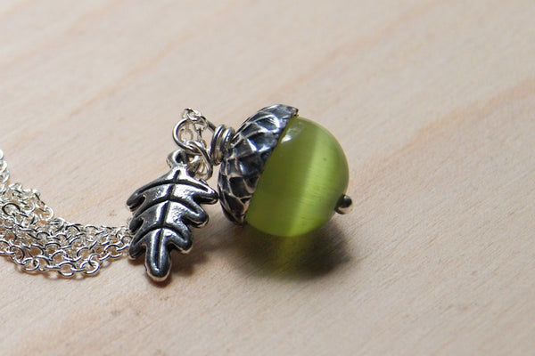 Moss & Silver Acorn Necklace | Nature Jewelry | Green Gemstone Acorn | Fall Acorn Charm Necklace - Enchanted Leaves - Nature Jewelry - Unique Handmade Gifts
