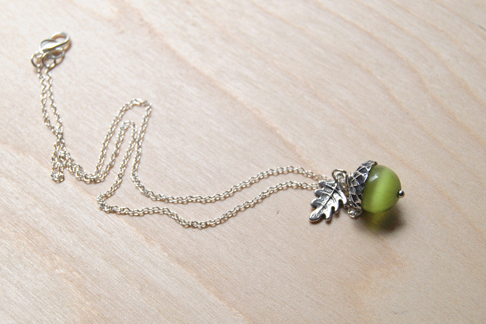 Moss and Silver Acorn Necklace | Cute Nature Acorn Charm Necklace | Green Forest Acorn Necklace | Woodland Gemstone Acorn | Nature Jewelry - Enchanted Leaves - Nature Jewelry - Unique Handmade Gifts