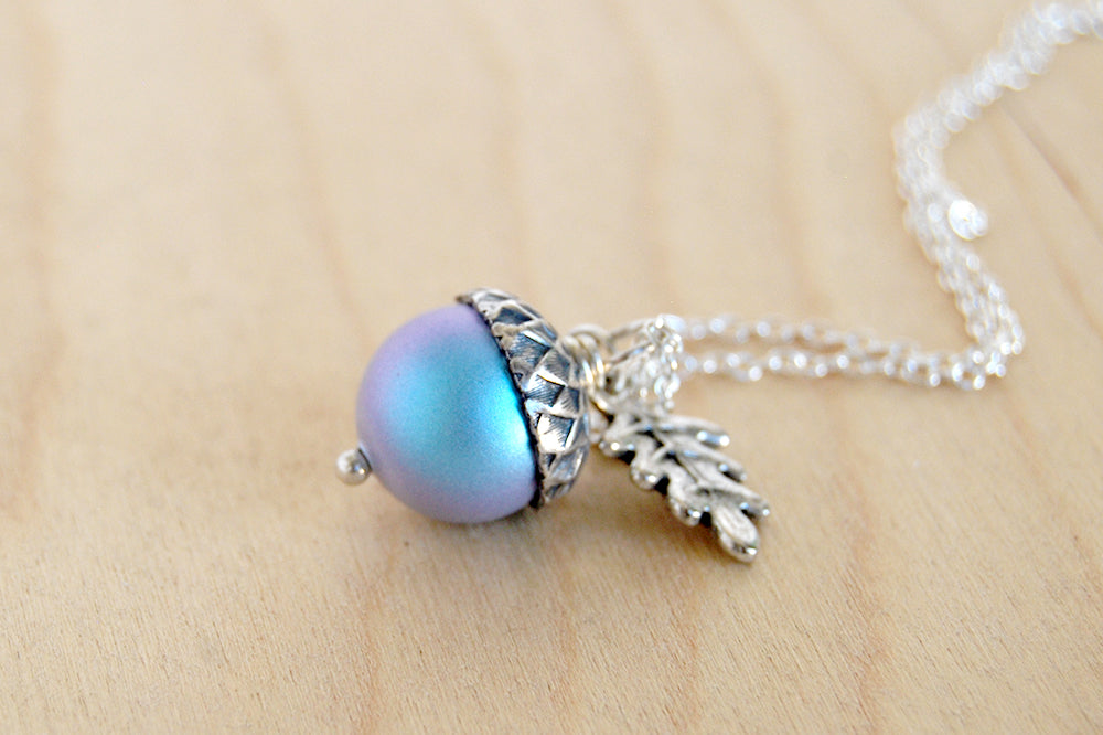 Silver Tide Pool Magic Acorn Necklace | Iridescent Blue Acorn | Something Blue Wedding Necklace - Enchanted Leaves - Nature Jewelry - Unique Handmade Gifts