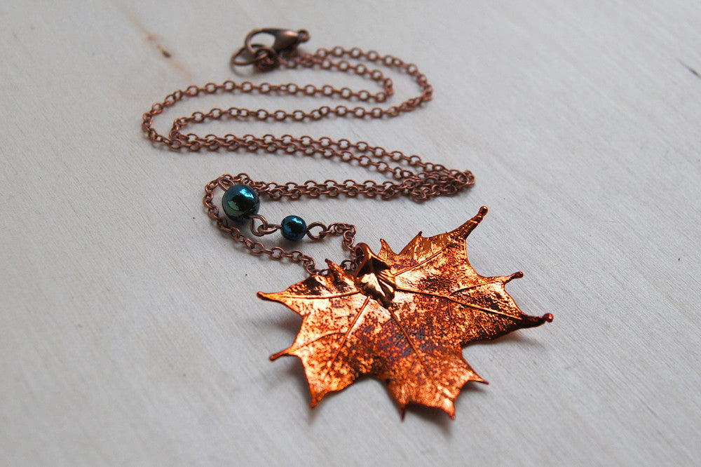 Small fallen copper maple leaf necklace real maple leaf pendant small fallen copper maple leaf necklace real maple leaf pendant copper electroformed pendant aloadofball Gallery