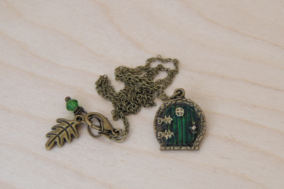 Small Bag End Hobbit Door Necklace | Hobbit Door Charm | Lord of the Rings Necklace | -Mini Size- - Enchanted Leaves - Nature Jewelry - Unique Handmade Gifts