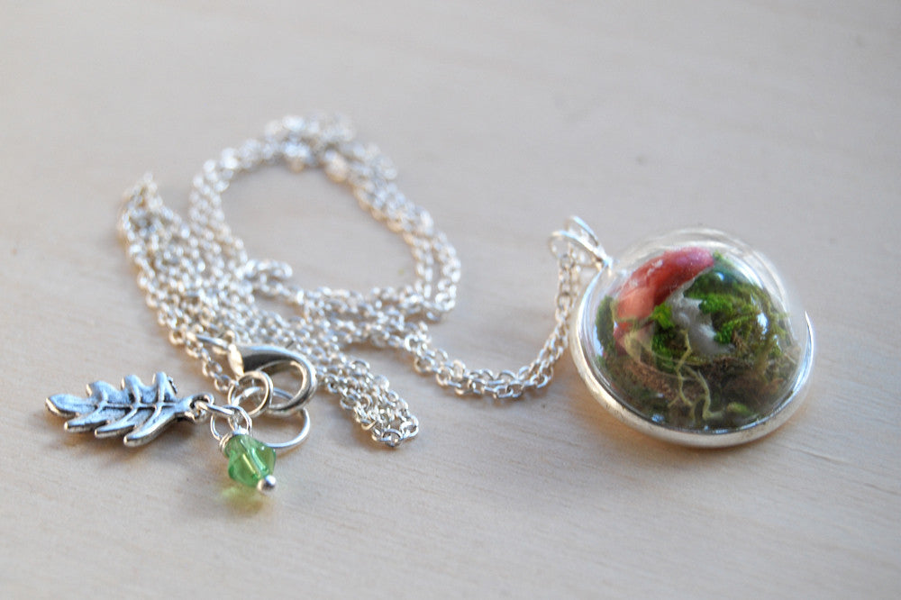 Small Mushroom Forest Terrarium Necklace | Toadstool Nature Necklace | Handmade Mushroom Jewelry - Enchanted Leaves - Nature Jewelry - Unique Handmade Gifts