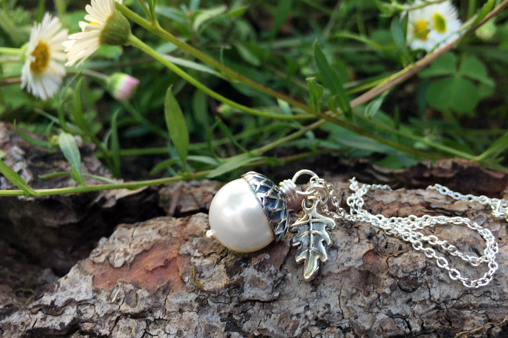 Snow and Silver Pearl Acorn Necklace | Cute Nature Acorn Charm Necklace | Fall Acorn Necklace | Woodland Acorn | Nature Jewelry - Enchanted Leaves - Nature Jewelry - Unique Handmade Gifts