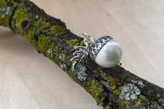 Snow and Silver Pearl Acorn Necklace