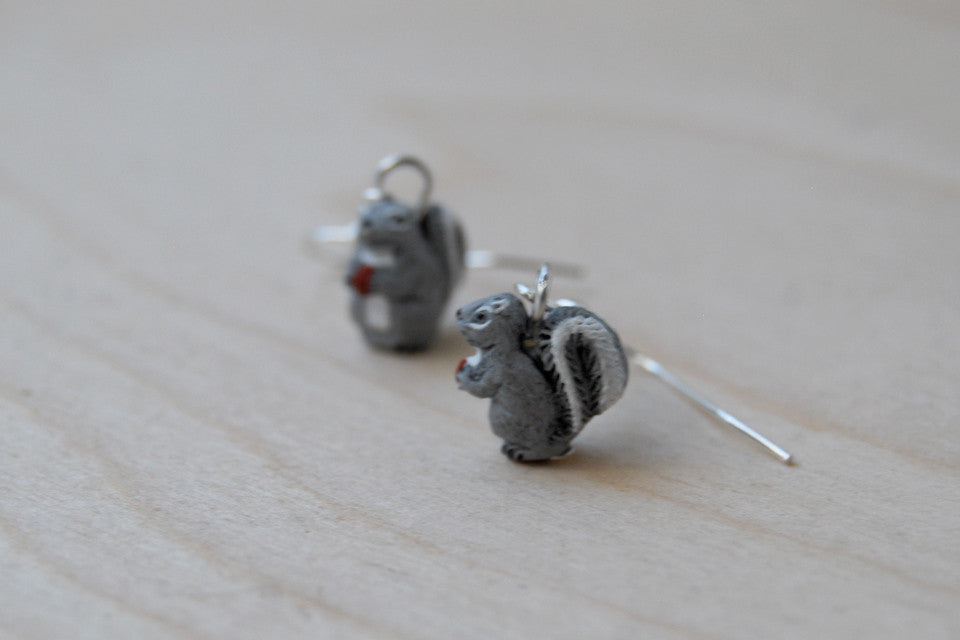 Grey Squirrel Earrings | Cute Squirrel Charm Earrings | Fall Jewelry - Enchanted Leaves - Nature Jewelry - Unique Handmade Gifts