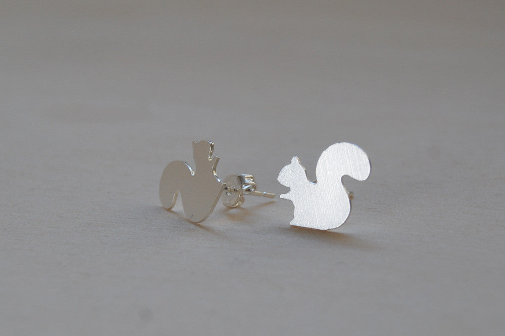 Silver Squirrel Stud Earrings | Woodland Squirrel Earrings | Fall Jewelry - Enchanted Leaves - Nature Jewelry - Unique Handmade Gifts