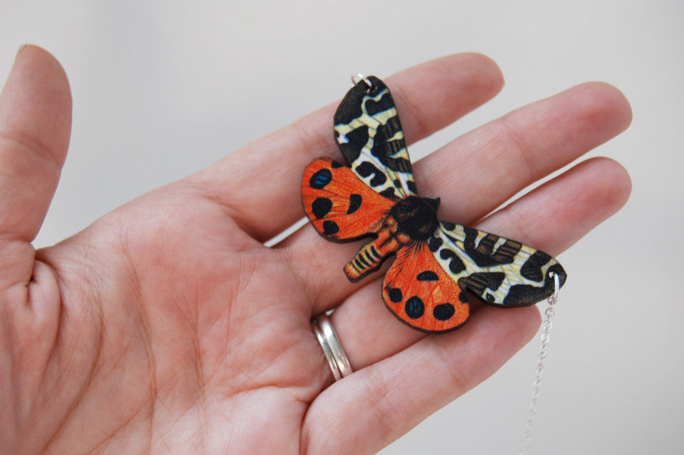 Tiger Moth Necklace - Enchanted Leaves - Nature Jewelry - Unique Handmade Gifts