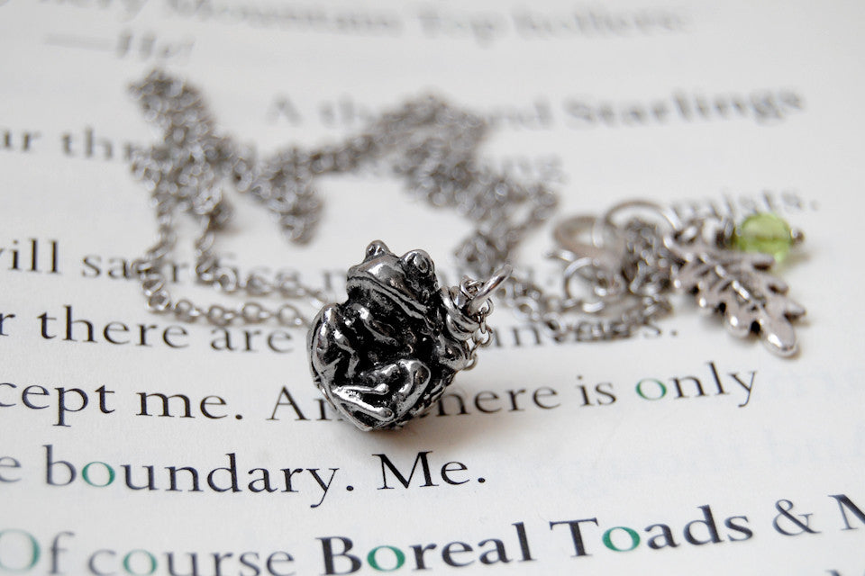 Teeny Tiny Toad Necklace - Enchanted Leaves - Nature Jewelry - Unique Handmade Gifts