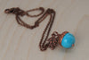Turquoise and Copper Acorn Necklace