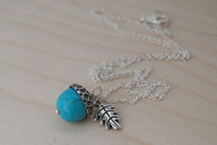 Turquoise and Silver Acorn Necklace