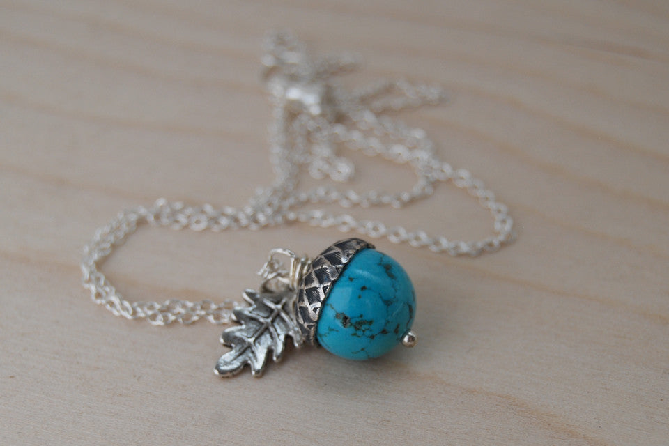Turquoise and Silver Acorn Necklace - Enchanted Leaves - Nature Jewelry - Unique Handmade Gifts