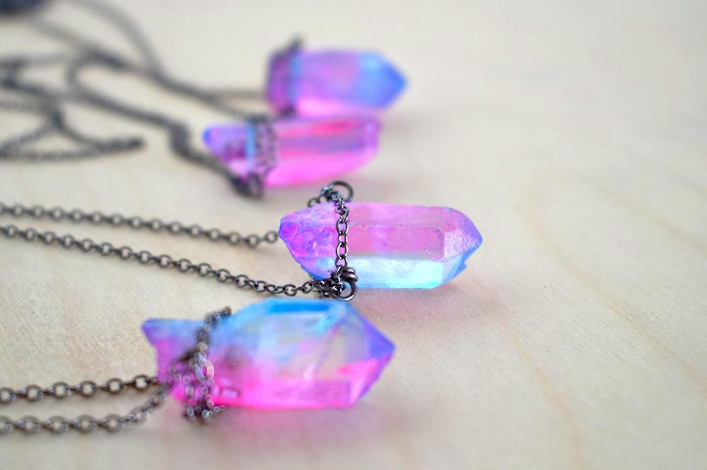 Unicorn Crystal Necklace | Pink and Blue Crystal Necklace | Magical Faerie Quartz Pendant - Enchanted Leaves - Nature Jewelry - Unique Handmade Gifts