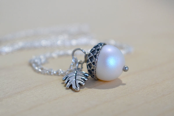 Silver Faerie Magic Acorn Necklace | Iridescent White Acorn Pendant | Forest Acorn Nature Jewelry - Enchanted Leaves - Nature Jewelry - Unique Handmade Gifts