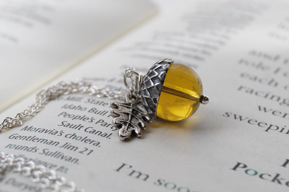 SALE- Amber Glass Acorn Necklace | Cute Fall Acorn Charm Necklace | Woodland Nature Jewelry - Enchanted Leaves - Nature Jewelry - Unique Handmade Gifts