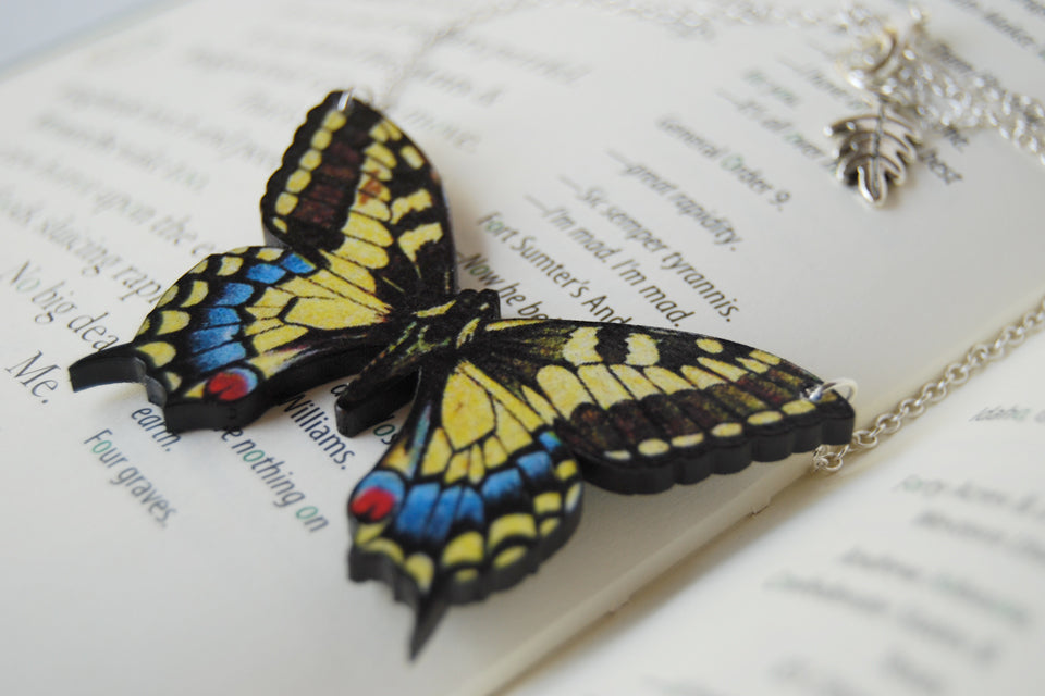 Anise Swallowtail Butterfly Necklace | Wooden Butterfly Pendant Necklace | Insect Jewelry - Enchanted Leaves - Nature Jewelry - Unique Handmade Gifts
