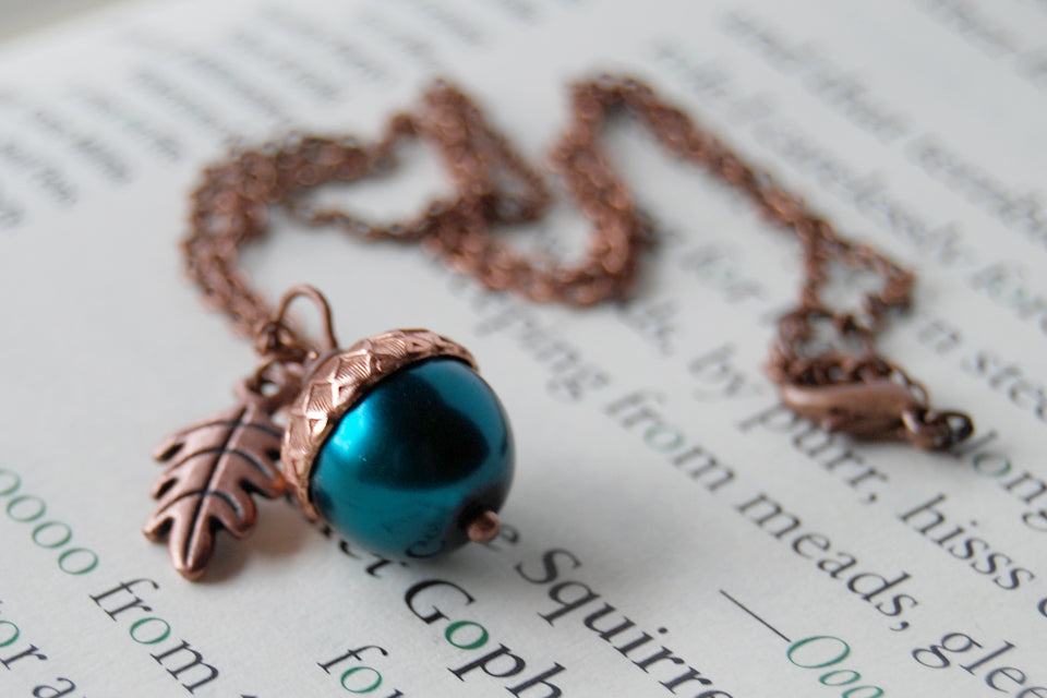 Aqua and Copper Pearl Acorn Necklace | Something Blue Necklace | Woodland Wedding Jewelry - Enchanted Leaves - Nature Jewelry - Unique Handmade Gifts