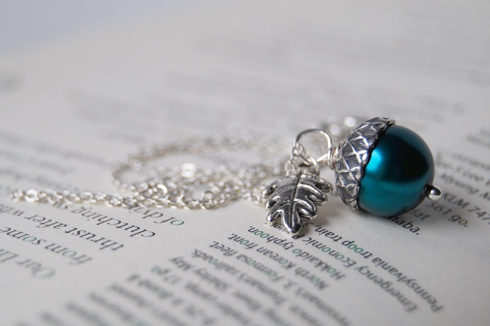 Aqua and Silver Pearl Acorn Necklace  | Something Blue Necklace | Woodland Wedding Jewelry - Enchanted Leaves - Nature Jewelry - Unique Handmade Gifts