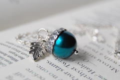 Aqua and Silver Pearl Acorn Necklace