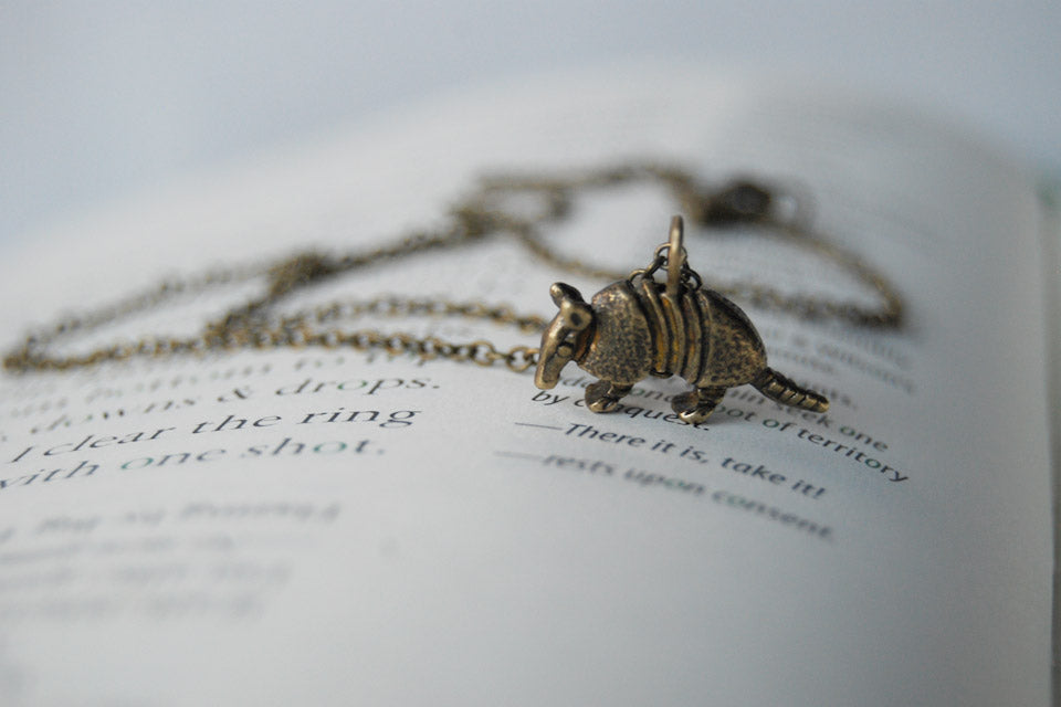 Arnold the Armadillo | Brass Armadillo Charm Necklace | Cute Armadillo Pendant - Enchanted Leaves - Nature Jewelry - Unique Handmade Gifts