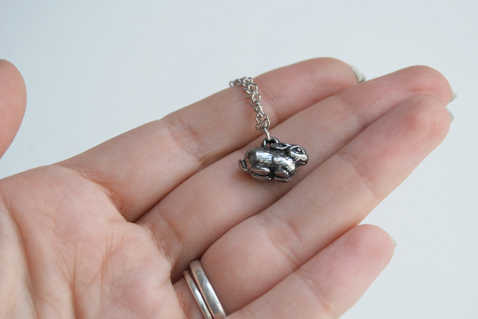 Baby Bunny Necklace | Cute Rabbit Charm Necklace | Dark Silver Rabbit Necklace | Woodland Animal Jewelry - Enchanted Leaves - Nature Jewelry - Unique Handmade Gifts
