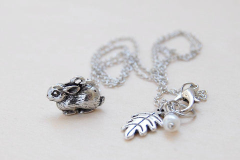 Baby Bunny Necklace | Cute Rabbit Charm Necklace | Dark Silver Rabbit Necklace | Woodland Animal Jewelry