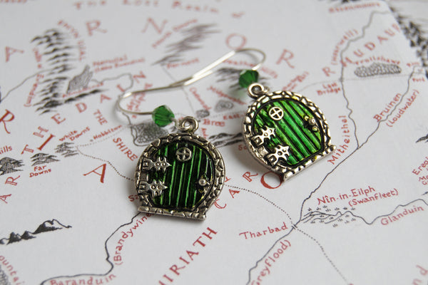 Bag End Hobbit Door Earrings | Lord of the Rings Jewelry | Green Door Earrings | Fantasy Hobbit Earrings - Enchanted Leaves - Nature Jewelry - Unique Handmade Gifts