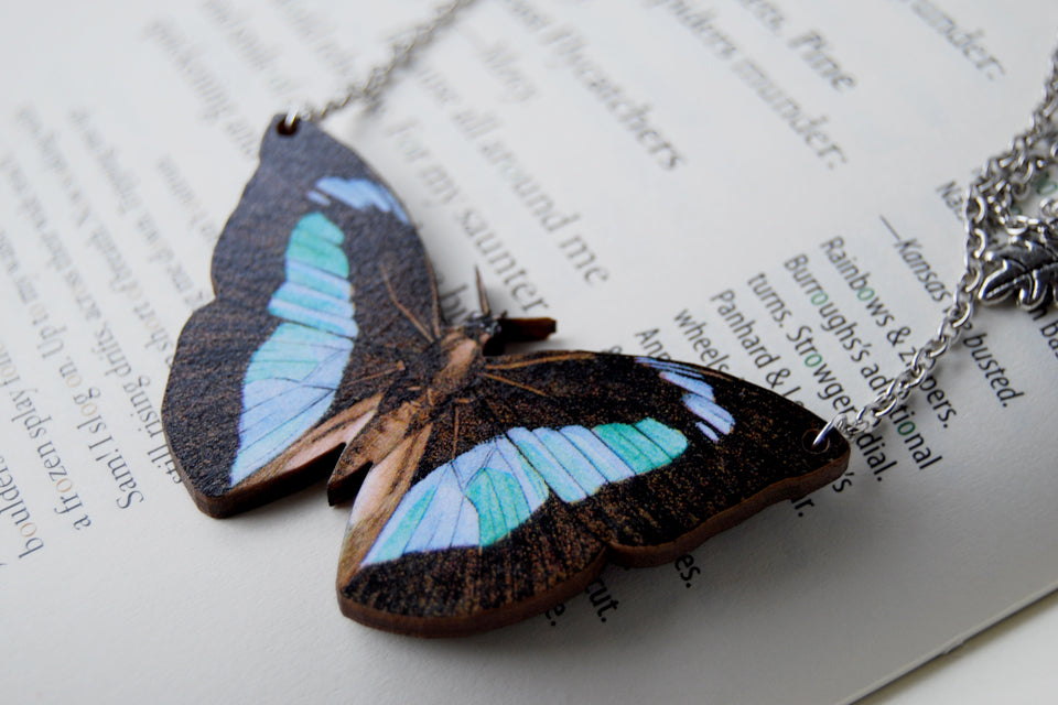 Banded King Butterfly Necklace | Wooden Butterfly Pendant | Insect Jewelry | Woodland Butterfly Art - Enchanted Leaves - Nature Jewelry - Unique Handmade Gifts