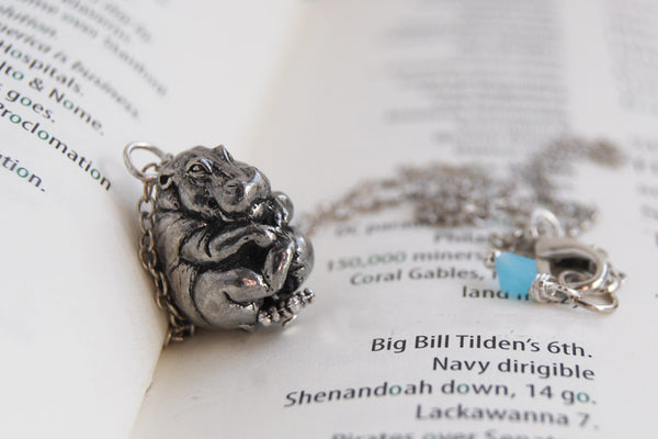 Bashful Hippo Necklace | Hippopotamus Necklace | Pewter Hippo Charm Necklace - Enchanted Leaves - Nature Jewelry - Unique Handmade Gifts