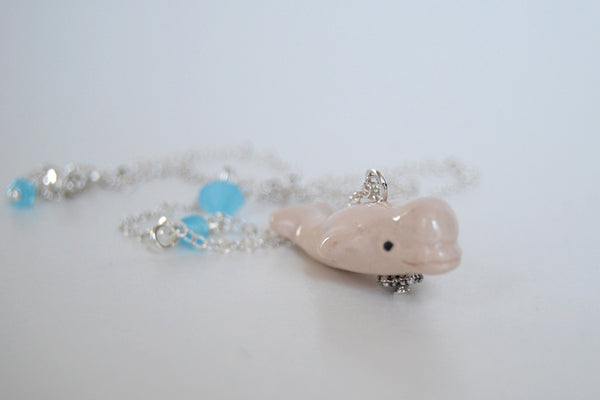 Beluga Whale Necklace | Cute Whale Necklace | Ceramic White Beluga Charm Necklace - Enchanted Leaves - Nature Jewelry - Unique Handmade Gifts