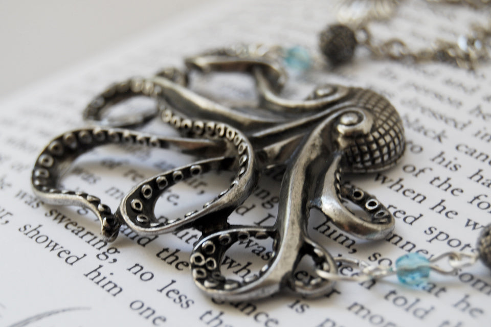 Large Silver Octopus Necklace | Nautical Jewelry | Octopus Pendant - Enchanted Leaves - Nature Jewelry - Unique Handmade Gifts