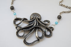 Large Silver Octopus Necklace