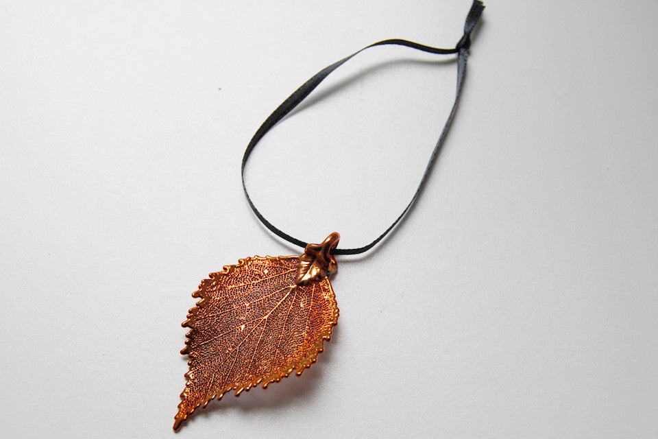 Real Birch Leaf Ornament | Electroformed Nature | Fall Leaf Ornament | Nature Gift - Enchanted Leaves - Nature Jewelry - Unique Handmade Gifts